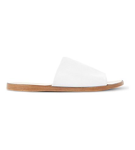 DUNE Leny leather mules (White-leather