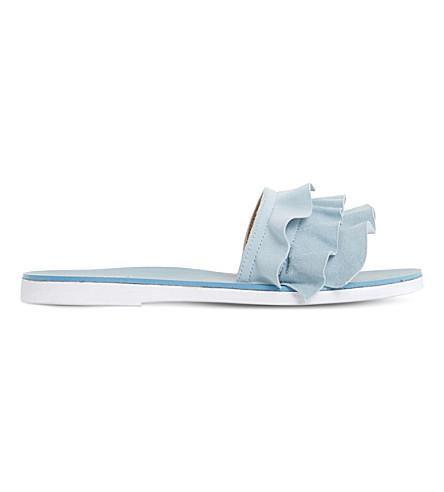 DUNE Laria suede slide sandals (Blue-suede