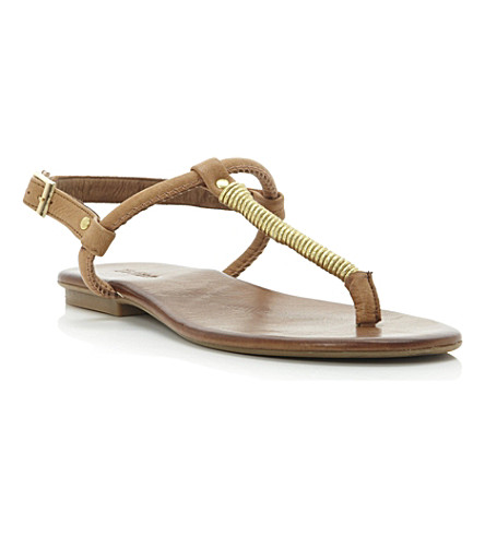 DUNE Jas metallic leather sandals (Tan-leather
