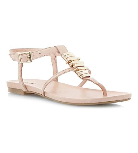 DUNE Jax T-bar flat sandals (Nude leather
