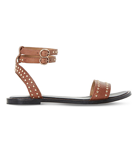 DUNE Lagoma pin stud leather sandals (Tan-leather