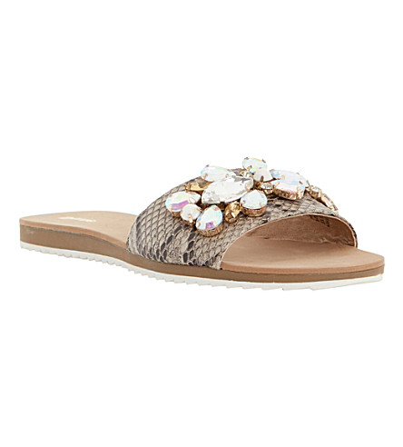 DUNE Kreme jewelled mule sandals (Natural-reptile syntheti