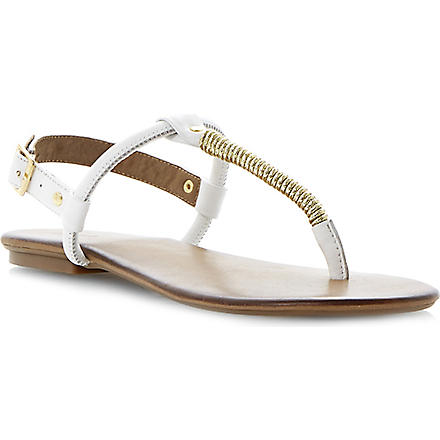 DUNE Jamba toe post sandals (White-leather
