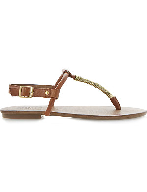 DUNE Jamba gold twisted detail toe post sandal