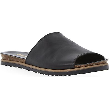 DUNE Java pool slider sandals (Black-leather
