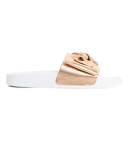 DUNE Lovelle bow sliders (Rose+gold-leather