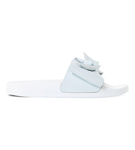 DUNE Lovelle bow sliders (Pale+blue-leather