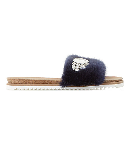 DUNE Lyra faux fur embellished sliders (Navy