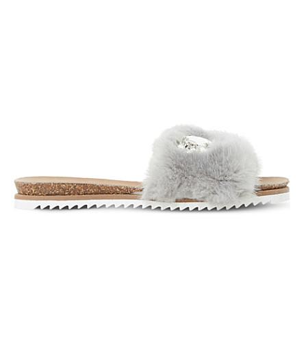 DUNE Lyra faux fur embellished sliders (Grey-faux+fur