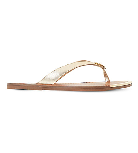 DUNE Lagos metallic leather sandals (Gold-leather