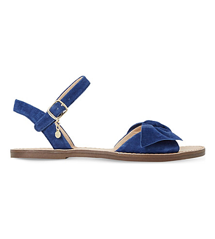 DUNE Lettie suede bow sandals (Navy-suede
