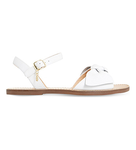 DUNE Lettie leather bow sandals (White-leather