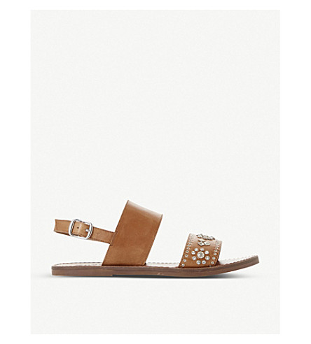 DUNE Luma embellished leather slingback sandals (Tan-leather