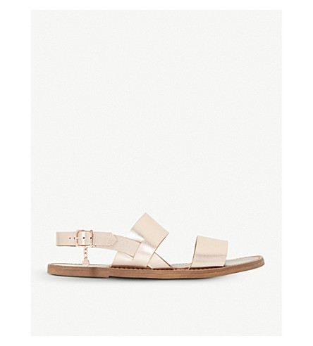 DUNE Lowpez metallic leather sandals (Rose+gold-leather
