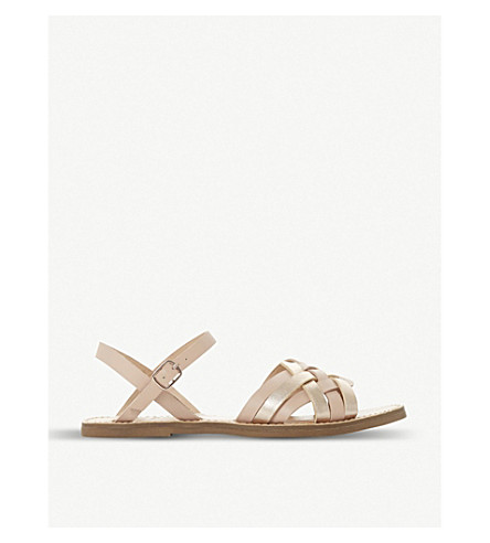 DUNE Woven front leather sandals (Rose+gold-leather