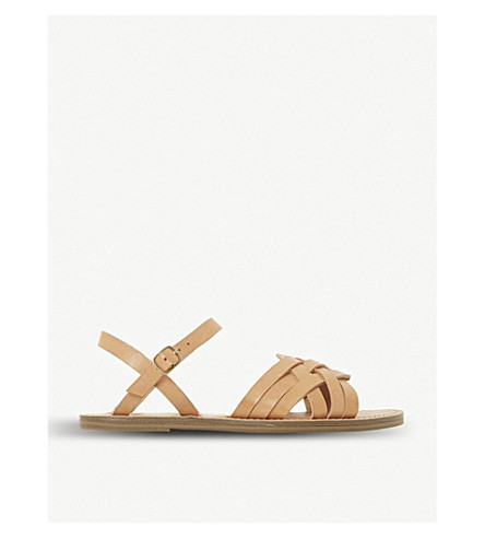 DUNE Woven front leather sandals (Tan-leather