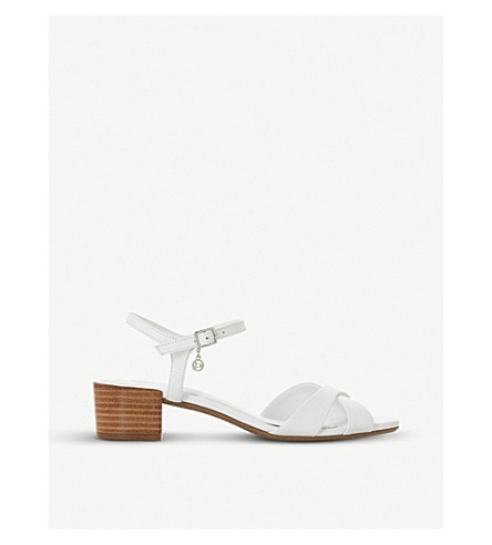 DUNE Jazzy block-heeled leather sandals (White-leather