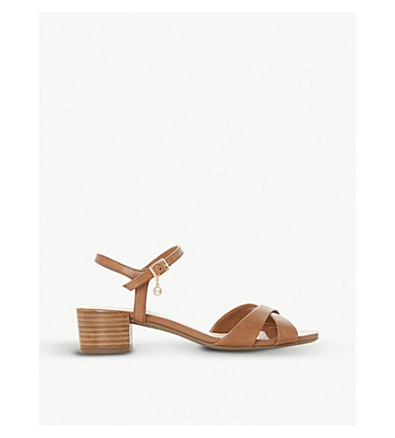 DUNE Jazzy block-heeled leather sandals (Tan-leather