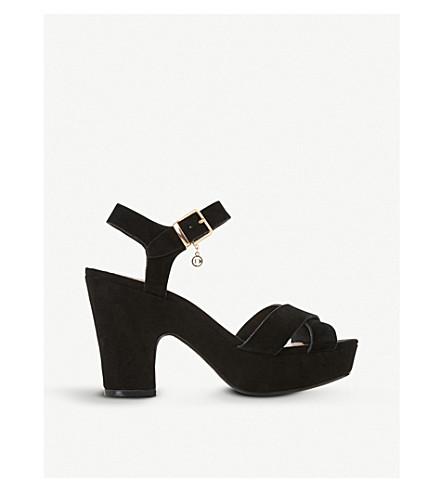 DUNE Ilya cross vamp suede heeled sandals (Black-suede