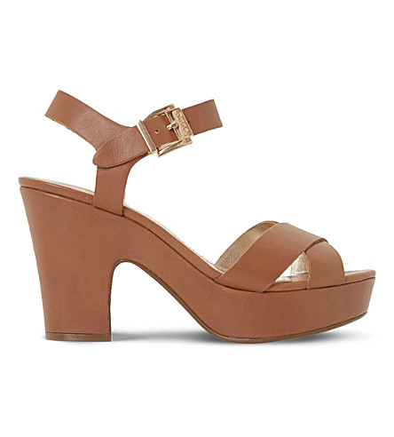 DUNE Iyla leather platform sandals (Tan