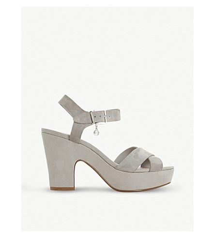 DUNE Iyla leather platform sandals (Grey-suede
