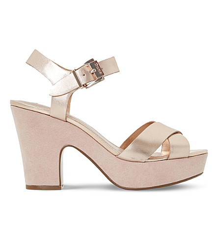 DUNE Iyla metallic leather platform sandals (Rose+gold-leather