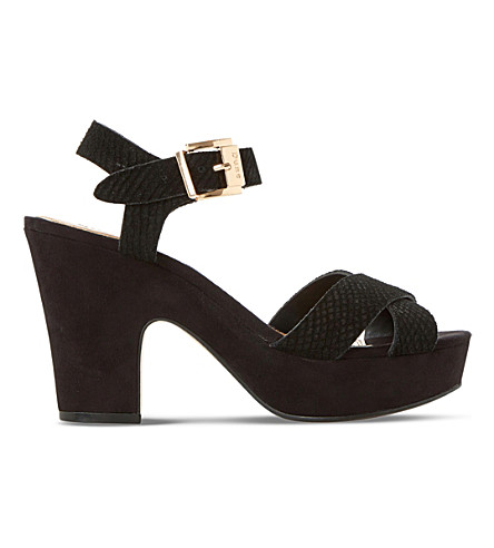 DUNE Iyla suede heeled sandals (Black-reptile