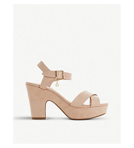 DUNE Ilya cross vamp suede heeled sandals (Blush-leather