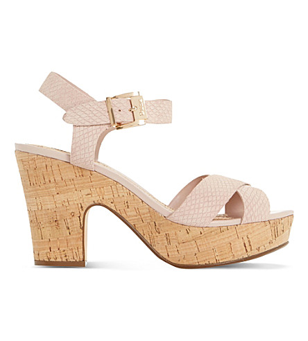 DUNE Iyla suede heeled sandals (Blush-reptile