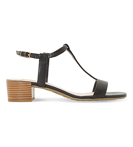 DUNE Issie T-bar leather sandals (Black-leather