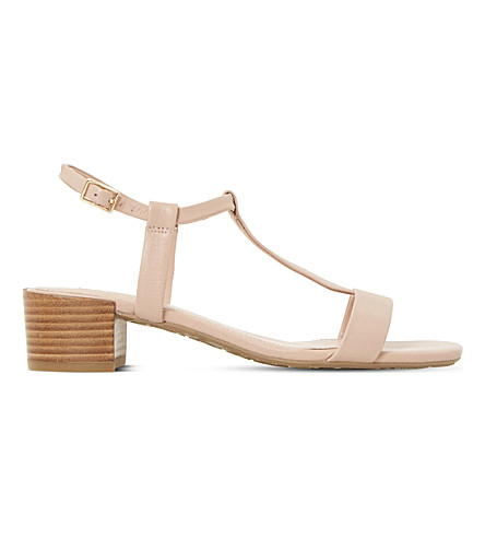 DUNE Issie T-bar leather sandals (Nude-leather