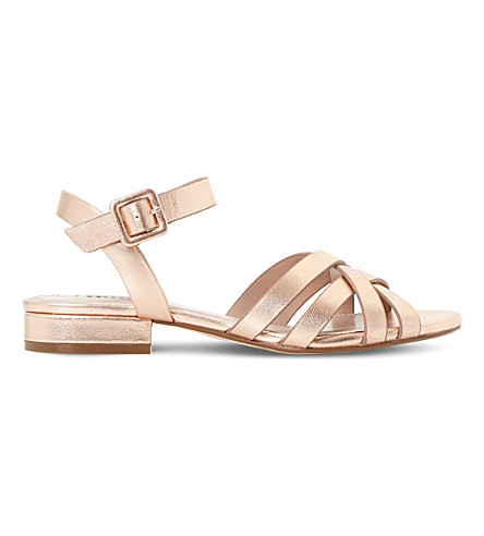 DUNE Insley block heel sandals (Rose+gold