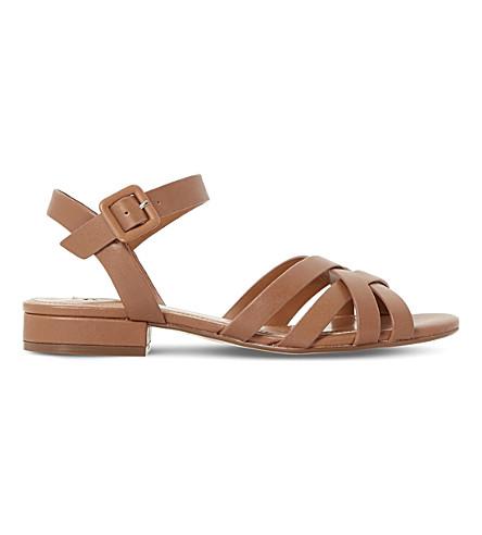 DUNE Insley block heel sandals (Tan-leather