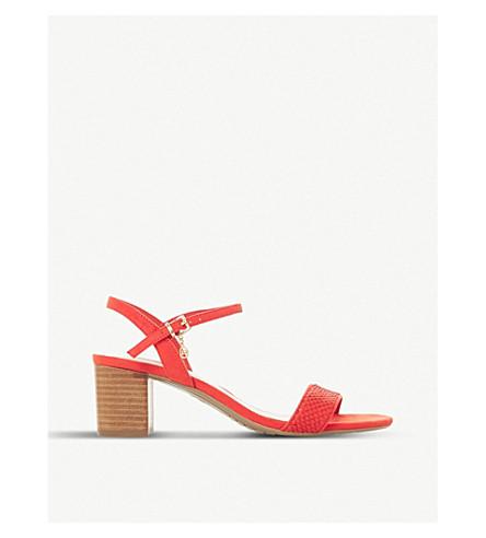 DUNE Jiggle leather block-heeled sandals (Orange