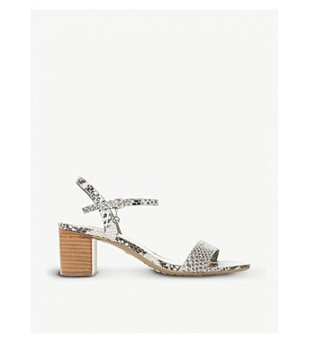 DUNE Jiggle reptile-embossed leather block-heeled sandals (Grey-reptile