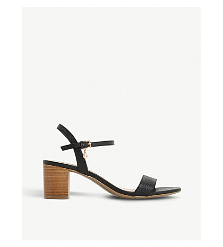 DUNE Jiggle leather block-heeled sandals (Black-leather