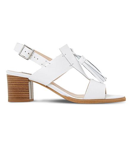 DUNE Ingrid tassel leather heel sandals (White-leather