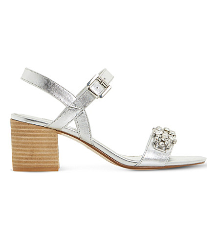 DUNE Joone embellished metallic leather sandals (Silver-leather