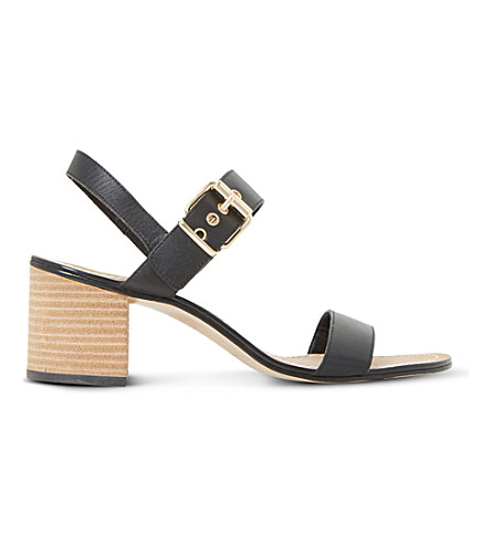 DUNE Jany leather block heel sandals (Black-leather