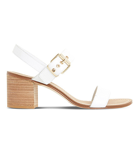 DUNE Jany leather block heel sandals (White-leather