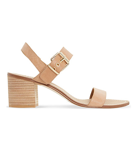 DUNE Jany leather block heel sandals (Tan-leather