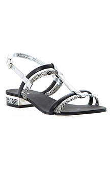 DUNE Fay T-bar leather sandals