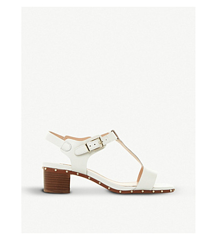 DUNE Isadora studded leather T-bar sandals (White-leather