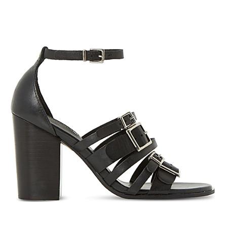 DUNE Jairo multi strap leather heel sandals