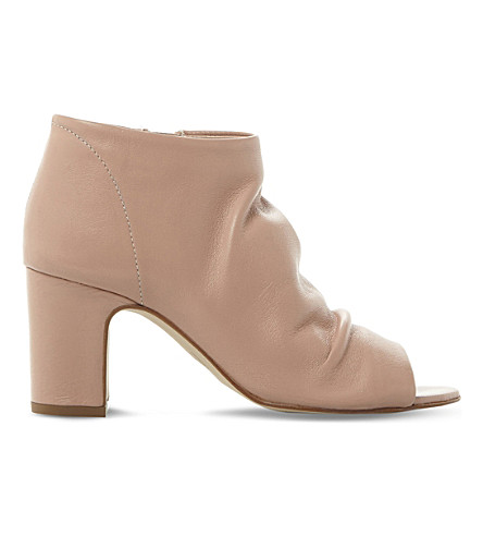 DUNE Ivory peep-toe leather ankle boots (Blush-leather