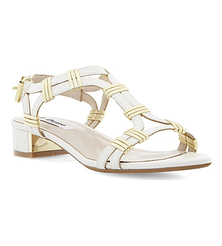DUNE Faith leather heeled sandals (White-synthetic