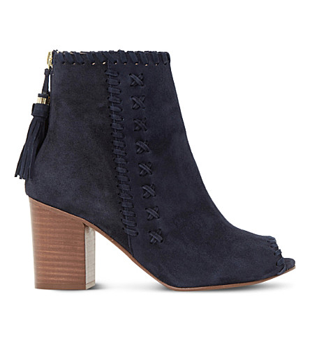 Countdown Package Sale Online DUNE Primrose suede peep-toe ankle boots Navy suede Buy Cheap Classic Dtrselpn
