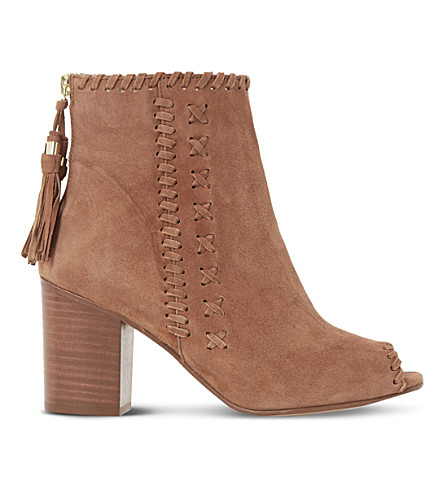 DUNE Primrose suede peep-toe ankle boots (Tan-suede