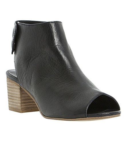 DUNE Joanna peep-toed leather ankle boots (Black leather