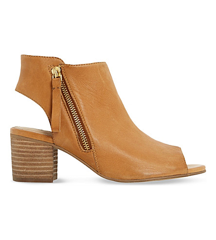 DUNE Joselyn peep-toe leather ankle boots (Tan leather